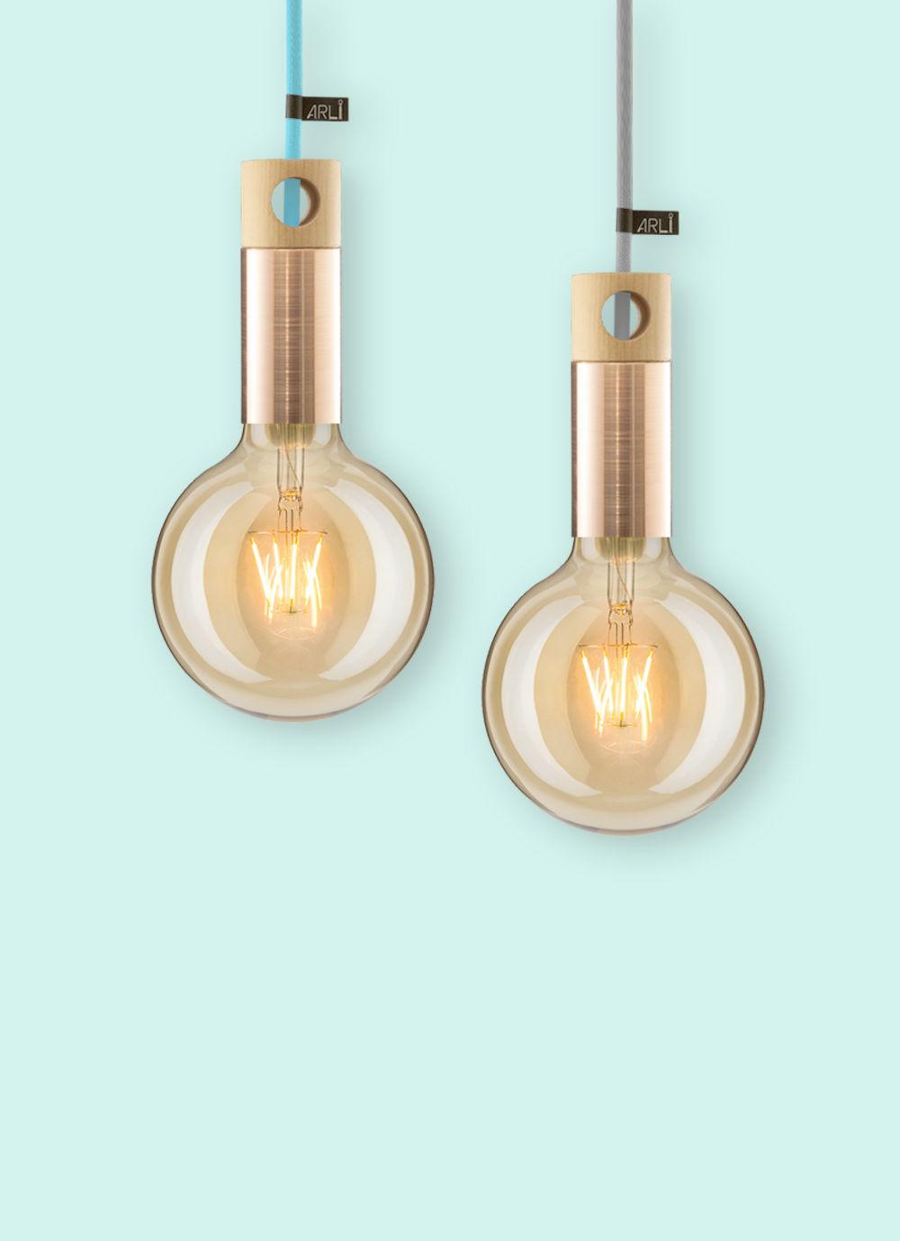 Dizajnové medené závesné svietidlo ARLI Copper