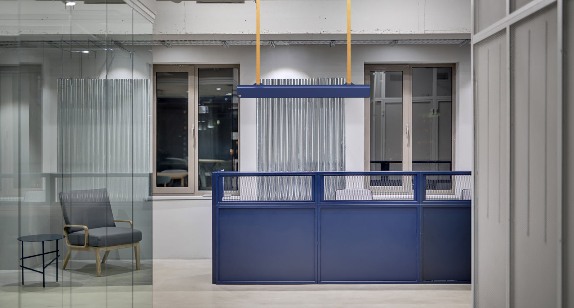 blue office light